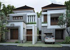 Desain Rumah luas 280 m2 Bapak Erik Jakarta Villa Design, House Design, Apartment Furniture Layout, Asian House, Building Elevation, Dental Office Design, Small Buildings, Cottage Design, Tropical Houses