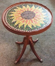 Mosaic sunflower table just for fun!