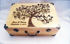 Personalized Custom wood burned large Wedding keepsake / Jewelry / Memory box with hinged lid, Brass accents / Tree of life with Love Birds