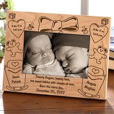 love the saying on this cute photo frame for baby twins its the double delivery