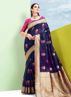 e01b33706a419 Buy Navy Blue Silk Festival Wear Saree 144367 with blouse online at lowest  price from vast