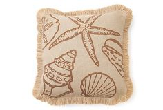 Shell Burlap 20x20 Pillow, Brown on OneKingsLane.com