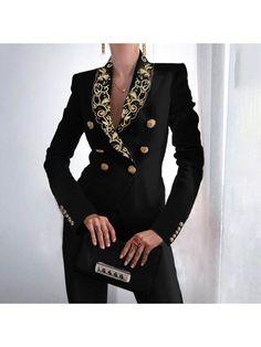 Long Overcoat, Women's Briefs, Estilo Fashion, Black Blazers, Women's Blazers, Types Of Sleeves, Fashion Outfits, Jackets Fashion, Long Sleeve