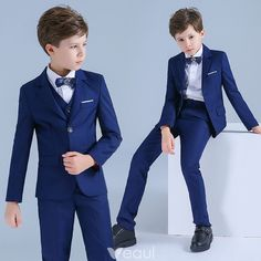 Wedding Outfit For Boys, Boys Wedding Suits, Royal Blue Suit, Dark Blue Suit, Blue Suits, Suit Fashion, Boy Fashion, Black Waistcoat, Kids Suits