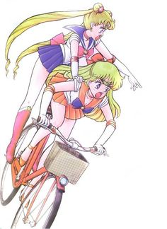 Sailor Moon and Sailor Venus~ I remember this episode.. Sailor Moon swoops in for the speech and Venus isn't happy.