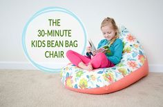 This kids bean bag chair, can be completed in just 30 minutes. it is made with 2 pieces of fabric, one zipper and a handful of simple seams.
