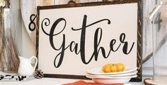 Family, food and making memories is the best thing about the Fall season. This Gather sign is a perfect reminder for the holidays. Family, friends,  pumpkins, warm memories and fun home decor.  Calligraphy Gather sign is hand painted and distressed to create a  vintage sign feel. It is hand-built using quality wood, with a rustic,  hand cut wood frame. It is the perfect addition to your decor.  Painted and distressed with a warm creamy background with distressed black lettering.Size : ...