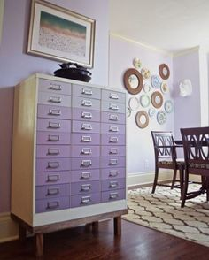 Beautiful ombre metal filing cabinet painted with Chalk Paint® colors Emile, Henrietta, and Old White by Charlotte of Ciburbanity. The stunning makeover made its way to the pages of Better Homes & Gardens, too!