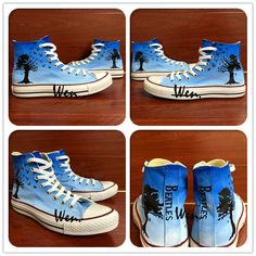 Hand Painted Shoes Design Custom The Beatles Black Birds Canvas High Top Unisex Adults Sneakers