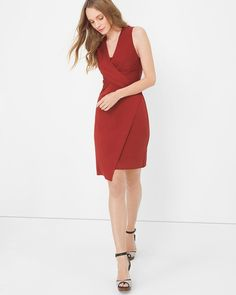 """This cinnamon-hued dress is designed to flatter in soft stretch with a  wrap-effect silhouette and twisted surplice bodice.  Finished with a neat, nipped-in waist that falls to an artfully angled hem, style this sleeveless dress simply with ankle-strap heels.    Sleeveless drape knit wrap dress    Fully lined    Rayon/spandex. Machine wash, cold.   Approx. 36.25"""" – 39"""" from shoulder   Imported"""