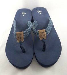 e75c6a233b8c J. CREW Navy Blue Wedge Heel Flip Flops Size 8.5 Nautical Rope Anchor Boat  Water  JCREW  FlipFlops