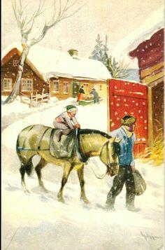 Julekort Gerhard Gjerding brukt 1934 Utg Damm