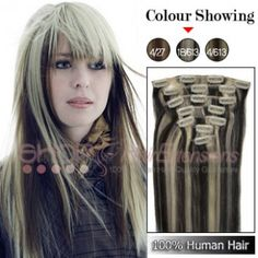 20 Inches 7pcs Clip-in Human Hair Extensions Straight (#P1B/613)