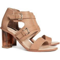 H&M Leather sandals (2.215 RUB) ❤ liked on Polyvore featuring shoes, sandals, h&m, heels, beige, heeled sandals, polish leather shoes, beige sandals, adjustable strap sandals and polish shoes