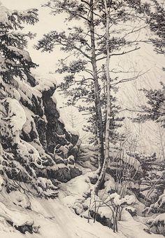 Fantastic winter landscape #drawing by Russian #artist Alexandre Mokhov