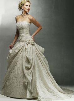 Strapless Beading Applique Taffeta Ivory Ball Gown Wedding Dress