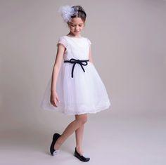 Innocence White Dress with Black Velvet Belt Organza Dress, Tulle, Velvet Bow Tie, Sleeve Designs, Short Girls, Black Velvet, White Dress, Flower Girl Dresses, Summer Dresses