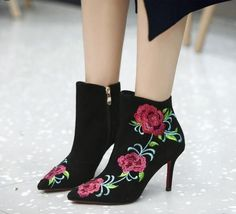Womens Ethnic Style Embroidery Ankle Boots Casual Stilettos Shoes Side Zip Point