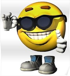 yellow emoji smile face with teeth and sunglasses