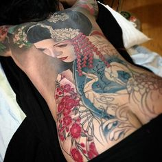 Tattoo in Progress by Jeff Gogue Weird Tattoos, Badass Tattoos, Hot Tattoos, Flower Tattoos, Body Art Tattoos, Tattoo Art, Nice Tattoos, Tattos, Full Back Tattoos