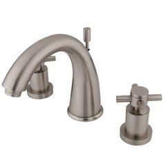Kingston Brass Concord Satin Nickel 2-Handle Widespread Bathroom Sink Faucet (Drain Included)