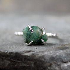 Uncut Raw Rough Green Emerald Ring