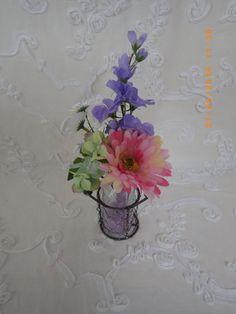 LECHERA DE VIDRIO adornada con flores artificiales de AROMESICOLORS en Etsy