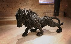 Made of Recycled Tires Lion Sculpture Artwork | 10 Creative & Famous Lion Sculptures Outdoor Art