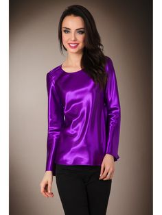 Purple violet satin long-sleeved T-shirt blouse
