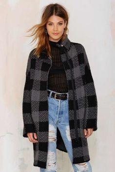 Stark Raving Plaid Cardigan Coat