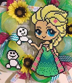 Frozen Fever wreath perler beads by AmeliasWreathsofJoy