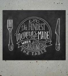 Fondest Memories Chalkboard Art Print | This Fondest Memories chalkboard print features hand-drawn let... | Printmaking