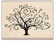 Flourished Fall Tree - Rubber Stamps  in deep purple ink on favor boxes