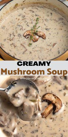 Easy Soup Recipes, Cream Soup Recipes, Vegetarian Recipes, Cooking Recipes, Cream Soups, Chicken Soup Recipes, Healthy Recipes, Creamy Mushroom Soup, Mushroom Soup Recipes