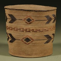 prior pinner:P Tlingit Polychrome Twined Basket | With two rows of chevron and diamond designs