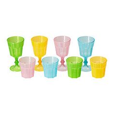 DUKTIG Glass, multicolour - multicolour - IKEA $2.95 for 8. Spray paint rose gold and fill with flowers.
