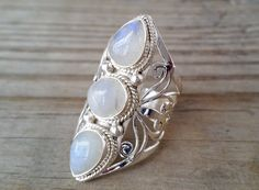 Boho natural rainbow moonstone and silver ring. Gypsy Ring, Bohemian Jewelry, Unique Ring, Statement Ring, Gypsy Fashion, Gypsy Style, Hippie Chunky Ring