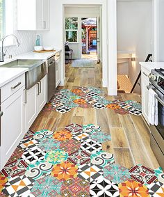 Ambiance Sticker, House Plans One Story, Floor Stickers, Painted Floors, Floor Decor, Wooden Flooring, Designer, Beautiful Homes, Home Improvement
