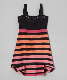This Fuchsia & Black Stripe Hi-Low Dress - Girls is perfect! #zulilyfinds