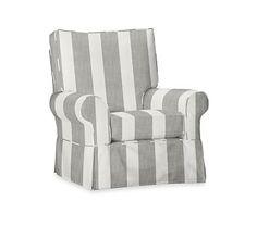 Comfort Swivel Rocker, Premium Performance Awning Stripe Gray