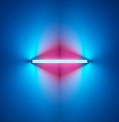 Fluorescent blue light sculpture by Dan Flavin Fluorescent Tube Light, Dan Flavin, Colani, Lights Artist, Light And Space, Art Walk, Art Abstrait, Art Moderne, Monochrom