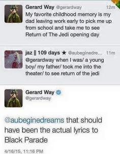 Gerard way black parade Emo Band Memes, Mcr Memes, Emo Bands, Music Bands, My Chemical Romance Memes, Mikey Way, Black Parade, Killjoys, Frank Iero