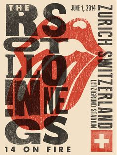 The Rolling Stones Zurich Gig Poster | 14 on Fire #TheRollingStones