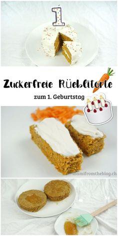 Zuckerfreie Rüeblitorte (Karottenkuchen, Möhrenkuchen) zum 1. Geburtstag. Einfach und gesund. Das Rezept kommt ohne ausgefallene Zutaten und ohne Kristallzucker aus. #zuckerfrei #smashcake #rüeblitorte #rezept