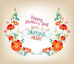 Floral background mothers day greeting card with decorative flowers royalty-free…