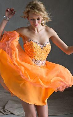 Beaded Orange Homecoming Dress Sticks & Stones By Mori Lee 9240