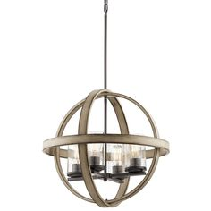 Kichler Barrington 20-in Distressed Black and Wood Art Deco Single Seeded Glass Orb Pendant