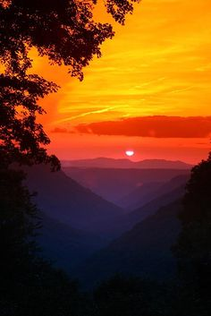 sunset orange sky Babcock State Park – West Virginia