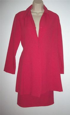 NWT RASPBERRY PINK A-LINE DUSTER AND MATCHING PENCIL SKIRT SET SIZE M/L #ReneeLaurenNewYork #SkirtSet