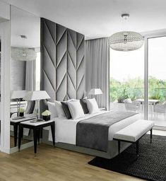 12 Modern Bedroom Designs - 12 Modern Bedroom Designs Bedroom design in white, black and grey featuring contemporary lines and beautiful chandelier Master Bedroom Design, Home Decor Bedroom, Bedroom Furniture, Furniture Design, Bedroom Ideas, Mirror Bedroom, Black Furniture, Furniture Ideas, Decor Room